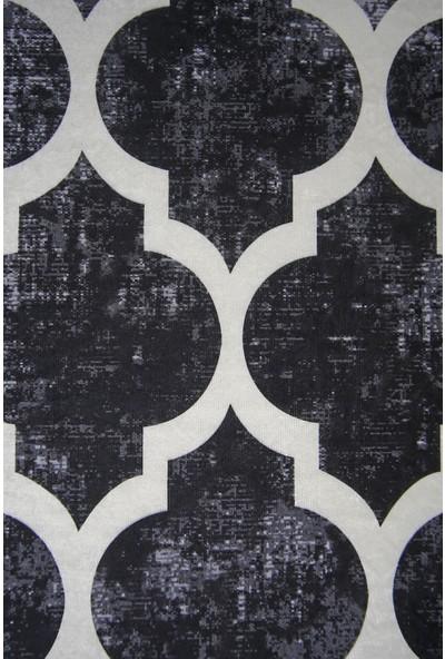 Diji Dekor Dekoratif Dijital Saçaklı Halı Yıkanabilir Antialaerjik Maça Siyah 80 x 50 cm