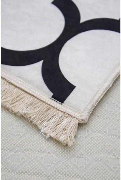 Diji Dekor Dekoratif Dijital Saçaklı Halı Yıkanabilir Antialaerjik Maça Beyaz 80 x 50 cm