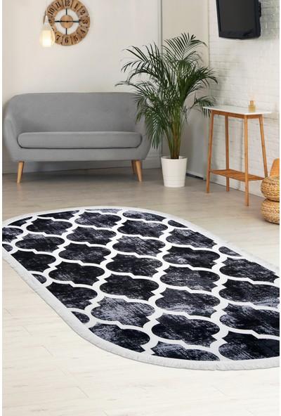 Diji Dekor Dekoratif Dijital Saçaklı Oval Halı Antialaerjik Maça Siyah 80 x 50 cm