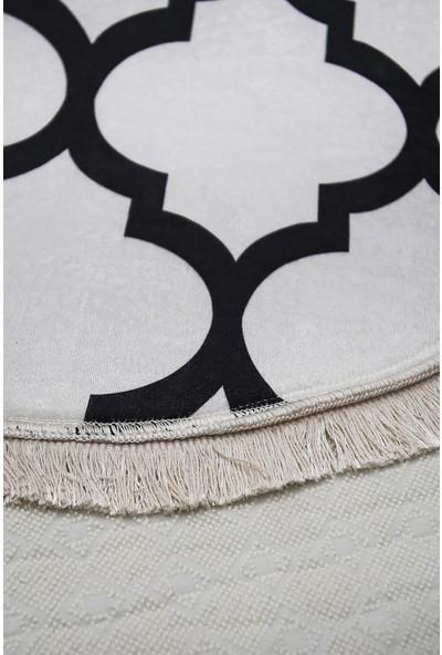 Diji Dekor Dekoratif Dijital Saçaklı Oval Halı Antialaerjik Maça Beyaz 80 x 50 cm