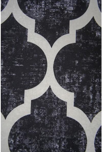 Diji Dekor Dekoratif Dijital Saçaklı Yuvarlak Halı Yıkanabilir Antialaerjik Maça Siyah 80 x 80 cm