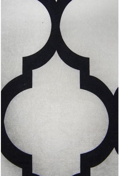 Diji Dekor Dekoratif Dijital Saçaklı Yuvarlak Halı Yıkanabilir Antialaerjik Maça Beyaz 80 x 80 cm
