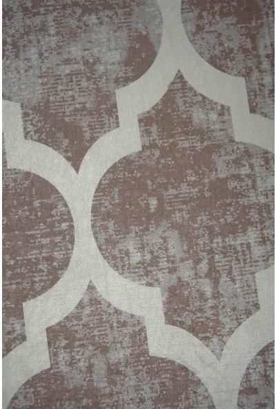 Diji Dekor Dekoratif Dijital Saçaklı Yuvarlak Halı Yıkanabilir Antialaerjik Maça Bej 80 x 80 cm