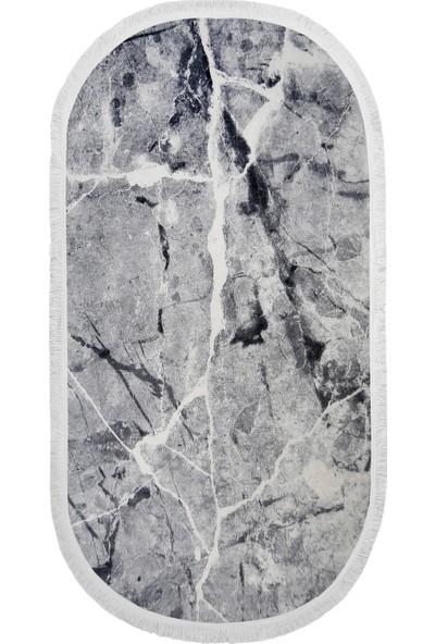 Diji Dekor Dekoratif Dijital Saçaklı Oval Halı Antialaerjik Granit Gri 80 x 50 cm