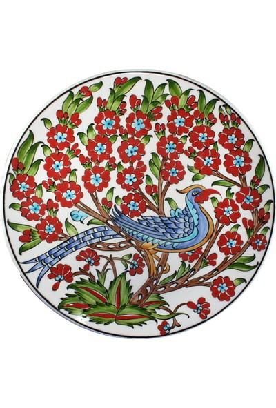Nkk Tavuskuşu Motifli Hayat Ağacı Desenli 30 Cm'lik Çini Tabak