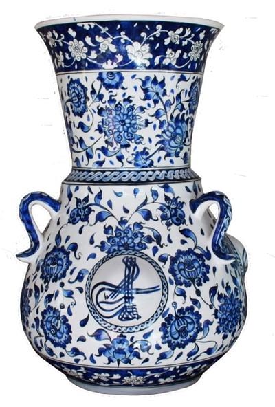 Nkk Lotus ve Üç Tarafında Osmanlı Tuğrası Işlemeli 50 cm Kandil Vazo