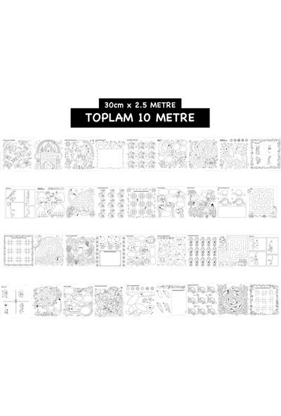 Ps Çöz, Çiz, Boya Aktivite Rulosu 30 cm x 2.5 metre 4 Adet Toplam 10 Metre + Boyama Rulosu