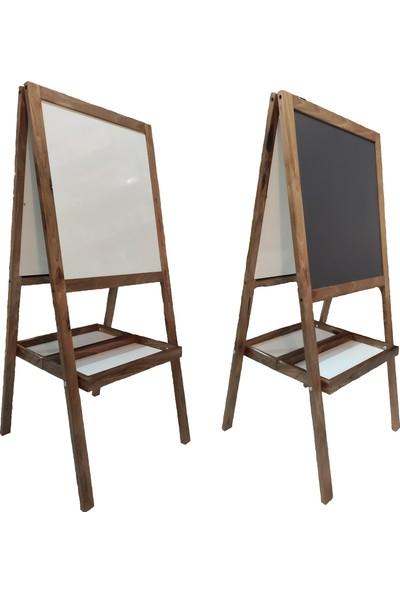 Hititahta Çift Taraflı 4 Yüzü Kullanılabilen Ayaklı Ahşap Yazı Tahtası 118 x 52 cm