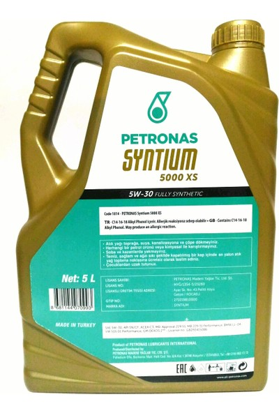 Petronas Partiküllü Motor Yağı Syntium 5W-30 5000 Xs 5 l (2019)