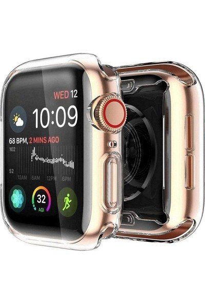 Gpack Apple Watch 4-5 44 mm Kılıf Önü Kapalı Şeffaf Silikon