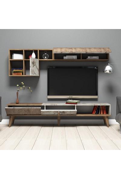 Variant Mobilya Milan Tv Ünitesi Ceviz Beyaz Mermer