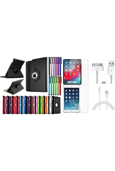 "Essleena Apple Kılıf Seti iPad Pro 11 (2018) 11"" 360 Derece Dönerli Kılıf+Kalem+9H Cam+Şarj Kablosu (A1934/A1979/A1980/A2013) - Gri"