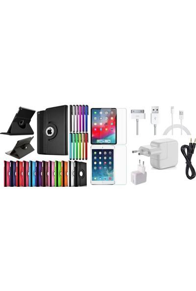 """Essleena Apple Kılıf Seti iPad Pro 11 (2018) 11"""" 360 Derece Dönerli Kılıf+Kalem+9H Cam+Şarj Seti+Aux (A1934/A1979/A1980/A2013) - Gri"""
