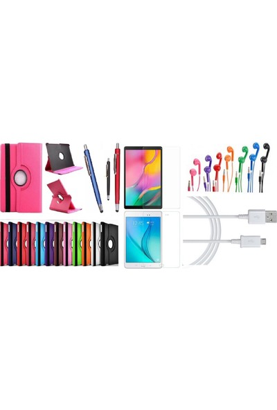 "Essleena Samsung Kılıf Seti Galaxy Tab A Sm-T590/T595/T597 10.5"" 360 Derece Dönerli Kılıf+Kalem+9H Cam+Kablo+Kulaklık - Gri"