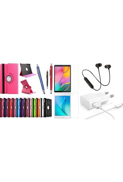 "Essleena Samsung Kılıf Seti Galaxy Tab A6 Sm-P580/P585 10.1"" 360 Derece Dönerli Kılıf+Kalem+9H Cam+Şarj Seti+Sport Bluetooth Kulaklık (Kalemli Model) - Gri"