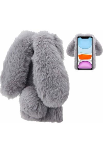 Omelo Samsung Galaxy Note 2 N7100 Kılıf Peluş Tüylü Tavşan Kulak Silikon Tpu Kapak Gri Açık