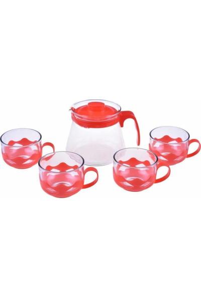 Bambum Guardo 5 Parça Çay Seti 600 ml Kırmızı