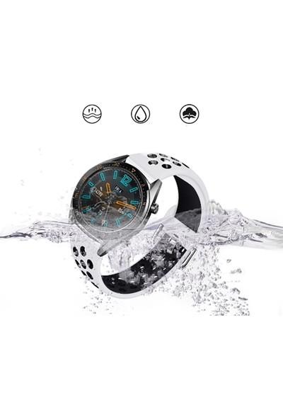 Happyshop Huawei Watch GT 2 46 mm Delikli Spor Renkli Silikon Kordon Siyah