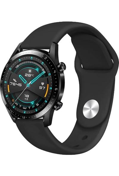 Happyshop Huawei Watch GT 2 46 mm Klasik Renkli Silikon Kordon Kırmızı
