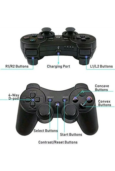 CoverZone PS3 Doubleshock Uyumlu Kablosuz Analog Oyun Kolu
