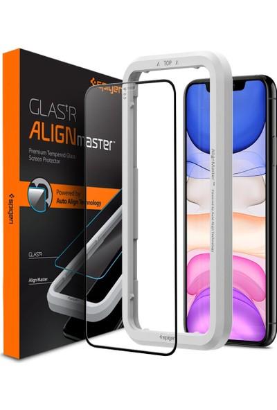 Spigen Apple iPhone 11 / iPhone XR Cam Ekran Koruyucu Kolay Kurulum AlignMaster Full Cover Black / Siyah - AGL00106
