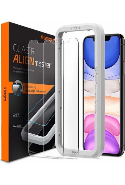 Spigen Apple iPhone 11 / iPhone XR Cam Ekran Koruyucu Kolay Kurulum AlignMaster GLAS.tR (2 Adet) - AGL00101