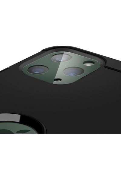 Spigen Apple iPhone 11 Pro Max / iPhone 11 Pro Kamera Lens Cam Ekran Koruyucu Full Cover Black + Midnight Green / Siyah + Gece Yeşili (2 Adet) - AGL00505