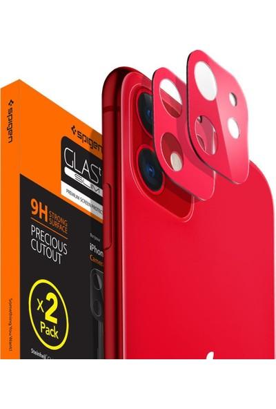 Spigen Apple iPhone 11 Kamera Lens Cam Ekran Koruyucu Full Cover Red / Kırmızı (2 Adet) - AGL00511