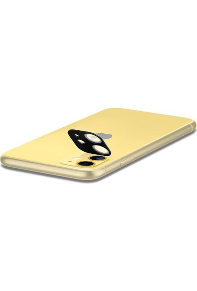 Spigen Apple iPhone 11 Kamera Lens Cam Ekran Koruyucu Full Cover Yellow / Sarı (2 Adet) - AGL00509