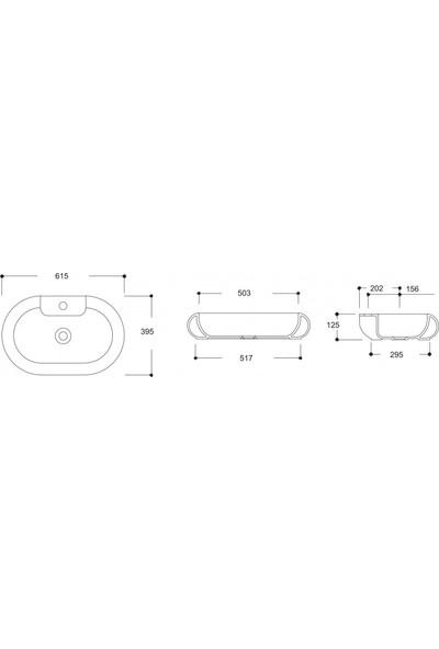 Güralvit Siyah Oval Mobilya Üstü Lavabo 39,5 x 61,5