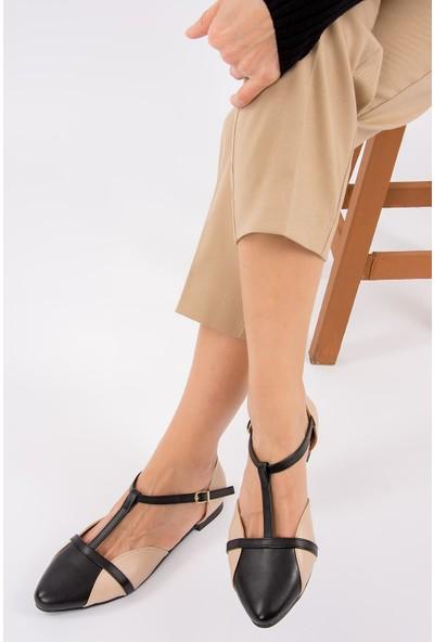 Fox Shoes TenSiyah Kadın Babet B726881809