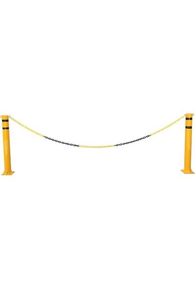 İlgi Trafik Plastik Zincir Otopark Trafik Zinciri Sarı - Siyah 8 mm 25 m