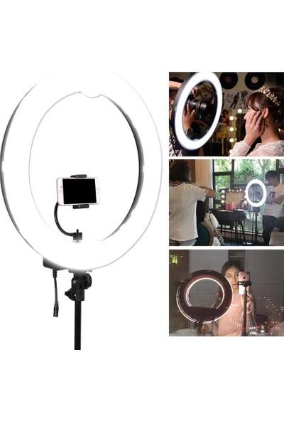 """Sezy 14"""" Sürekli Ring Light Işık Youtuber Vlog Kuaförler İçin Işıklandırma 2 m Stand"""