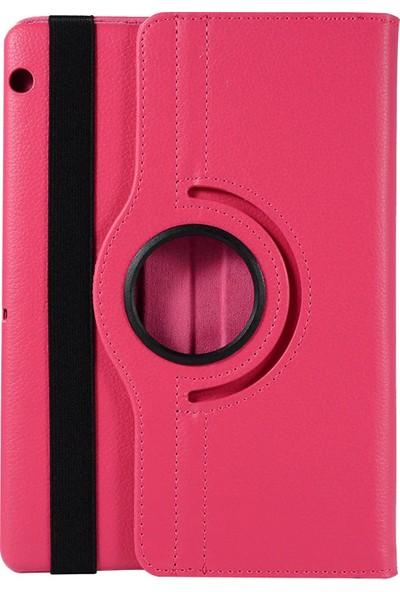 """Redpoloshop Huawei Mediapad T3 7'' Kılıf 7"""" Dönerli Standlı Kapaklı + Tempered Cam Koruyucu - Fuşya"""
