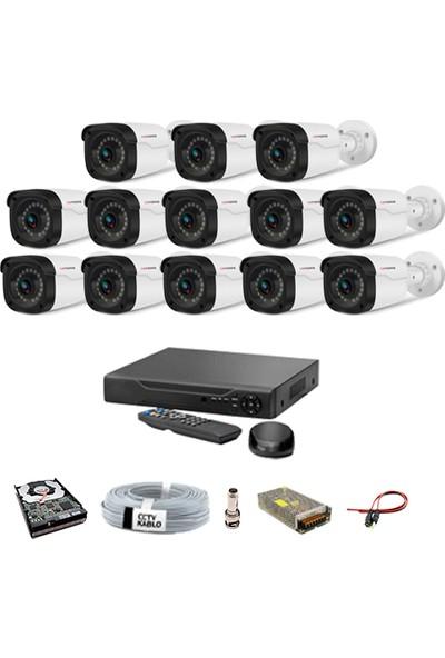 Proje Kamera 13 Kameralı Güvenlik Sistemi Dış-Mekan-Hdd-Jack-Bnc-Konnektör
