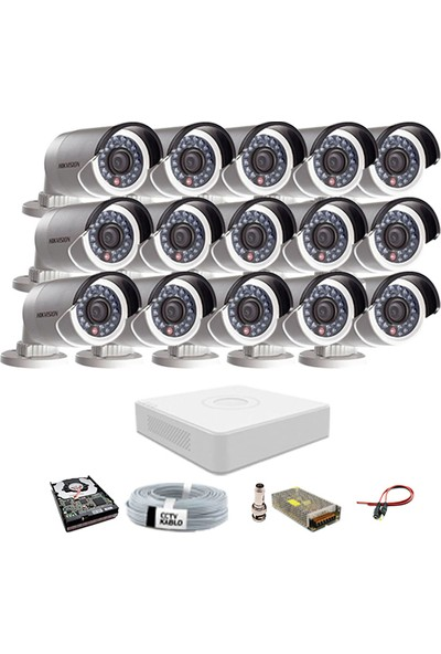 Haikon 15 Kameralı Güvenlik Sistemi Dış-Mekan-Hdd-Jack-Bnc-Konnektör Proje Kamera