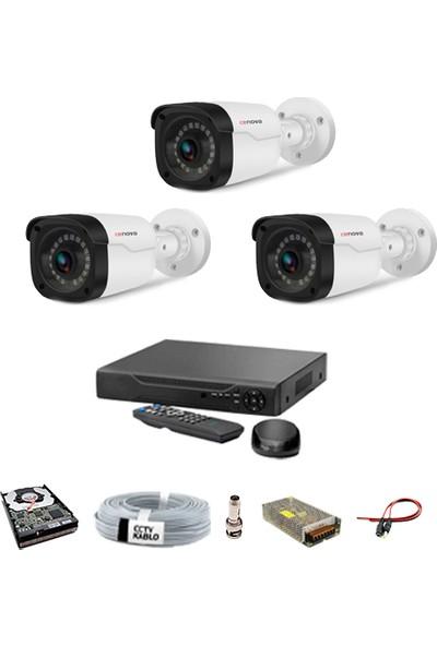 Proje Kamera 3 Kameralı Güvenlik Sistemi Dış-Mekan-Hdd-Jack-Bnc-Konnektör