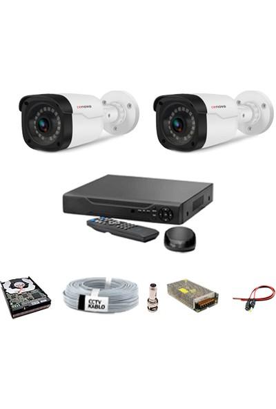 Proje Kamera 2 Kameralı Güvenlik Sistemi Dış-Mekan-Hdd-Jack-Bnc-Konnektör