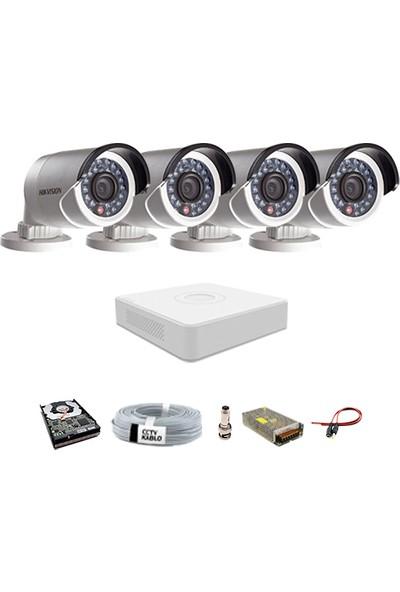 Haikon 4 Kameralı Güvenlik Sistemi Dış-Mekan-Hdd-Jack-Bnc-Konnektör Proje Kamera