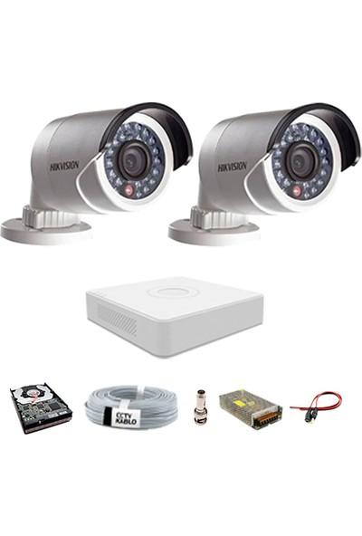 Haikon 2 Kameralı Güvenlik Sistemi Dış-Mekan-Hdd-Jack-Bnc-Konnektör Proje Kamera