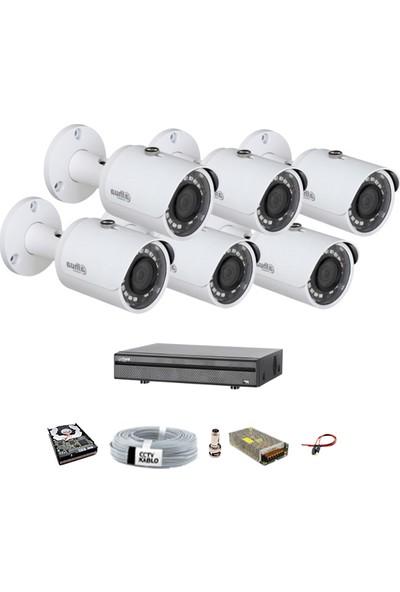Dahua 6 Kameralı Güvenlik Sistemi Dış Mekan-Hdd-Jack-Bnc Konnektör Proje Kamera