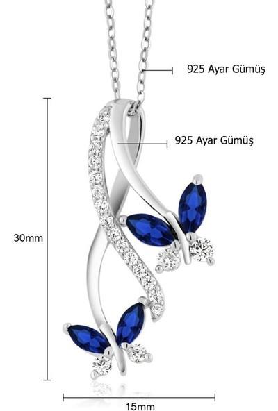 Enes Store Sonsuzluk Pırlanta Model Safir Taşlı Kelebek Gümüş Kolye