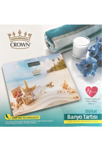 Crown Kumsal Desenli Dijital Cam Baskül Terazi Tartı
