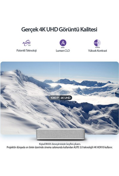 VAVA 60W Harman Kardon Hoparlörlü 4K UHD Lazer TV Ev Sinema Sistemi Projektör 6000 Lumen Ultra Kısa Mesafe ALPD 3.0 HDR10