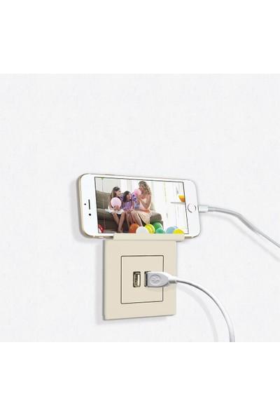 Günsan Telefon Tutucu 2 Çıkışlı USB Şarj Prizi, 5V, 2.1A, Krem 01401202-100353