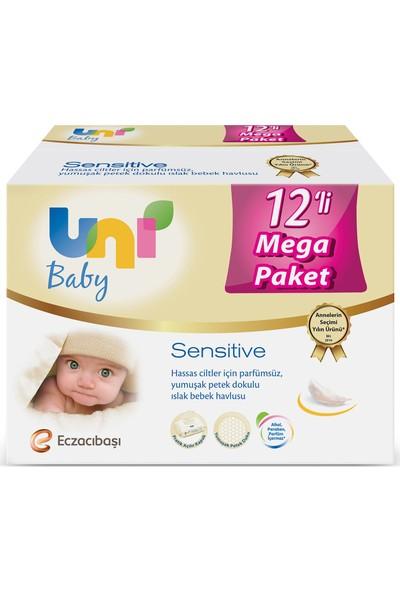 Uni Baby Sensitive Islak Havlu 12'li Ekonomik Fırsat Paketi 12x56 (672 Yaprak)