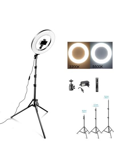 Renksan 14 inç Youtuber Video Oda Çekimleri çin Ring Light Sürekli Beyaz LED Işık + 2 m Stand Ayak Halka14