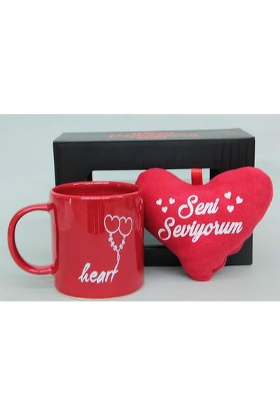 Evim Tatlı Evim Seni Seviyorum Ayıcık Stres Kupa ve Peluş Kalp Seti