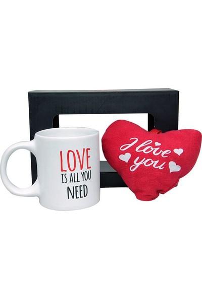 Evim Tatlı Evim Sevgililer Günü Kalp Kalbe Stres Kupa ve Peluş Kalp Seti