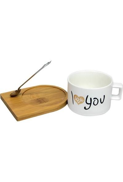 Evim Tatlı Evim Bambu Tabaklı ve Kaşıklı I Love You Kupa Mug